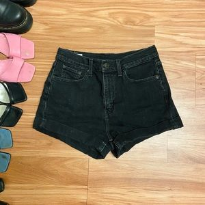 LEVI'S Black High Waisted Cuffed Denim Shorts
